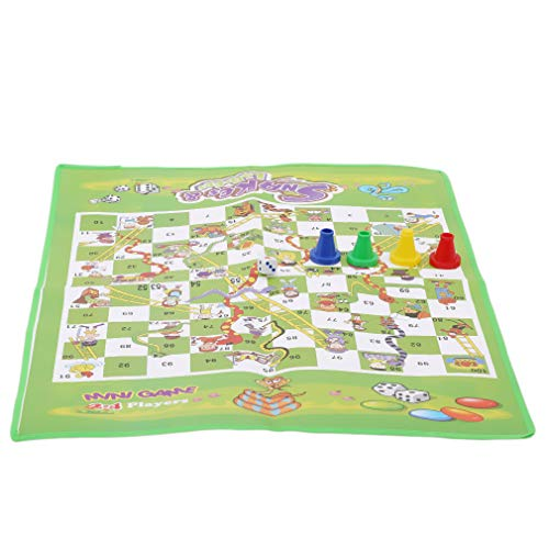 YESMAEA Chess Board Foldable Chess Game Non-Woven Ideal for Chess Players Snake Ladder Chess Board Green