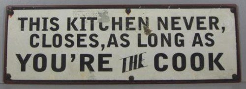 Pared Cartel Cartel de metal This Kitchen Never closes, AS ...