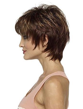Arbeiten Sie Dame Braune Kurze Haare Synthetische Perücken