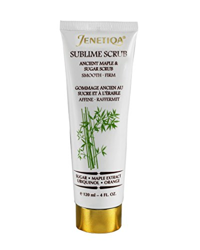 Smooth Crepey skin with Sublime Scrub, Natural Fruits Exfoliator with Vitamin C, Apricots, enzymes, bamboo extract and green tea. Helps eliminate dead skin