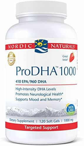 Nordic Naturals ProDHA 1000 - Fish Oil, 410 EPA mg, 960 DHA mg, Targeted Intensive Support for Neurological Health, Mood, Memory, and Healthy Vision*, Strawberry, 120 Soft Gels