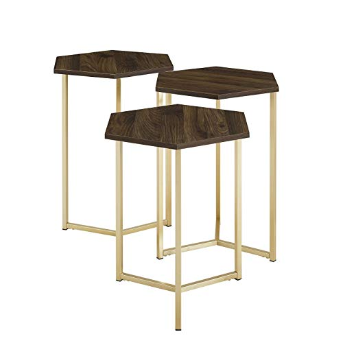 WE Furniture AZF16HEX3DW Nesting Tables, Set of 3, Dark Walnut/Gold