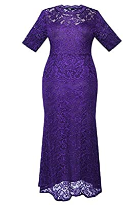 Myfeel Plus Size Lace Dress 2 layers Sheath Patchwork Cocktail Maxi Evening Gown