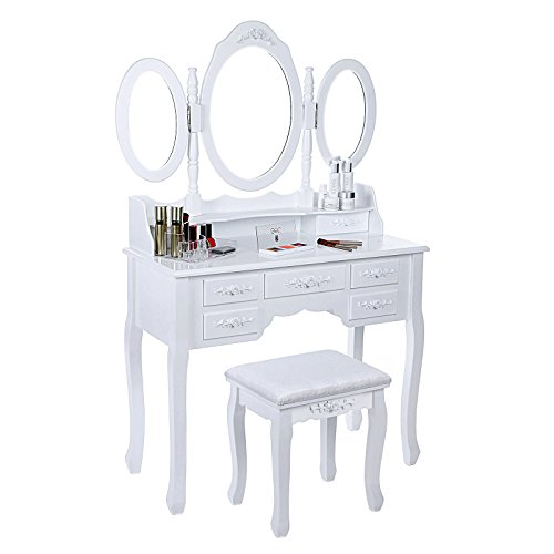 SONGMICS Vanity Set Tri-folding Mirror Make-up Dressing Table Padded Stool with 7 Drawers 2 Dividers White URDT91M by SONGMICS