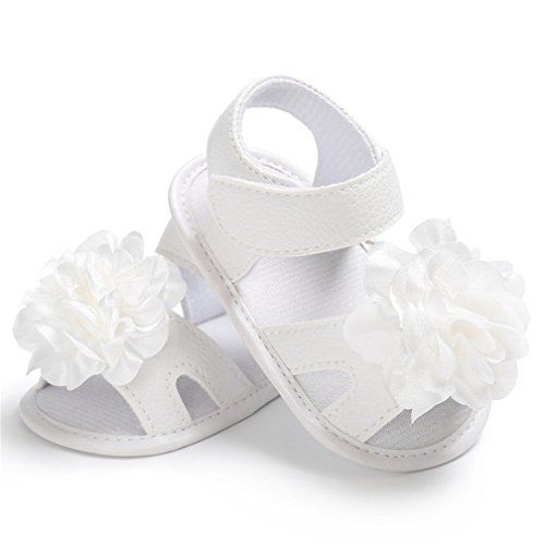 CoKate Floral Sandals, Infant Girl Summer Sandals Anti-Kick Shoes for 0-18M (4.33inch/0-6months, 2 White) ()