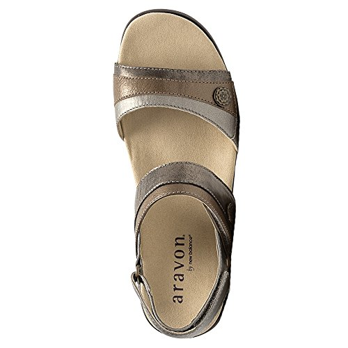 Aravon Mujeres Katherine-ar Flat Sandal Metálico Multi