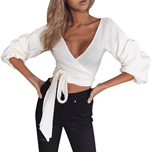 (Midriff Blouse, Kimloog Women Deep V Neck Puff Sleeve Knitted Bow-Waist Tie Casual Sweater Crop Wrap Tops (XL, White))