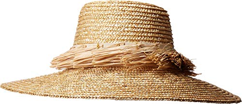 San Diego Hat Company Women's WSH1205 - Wheat Straw Hat with Raffia Fray Trim Natural One Size