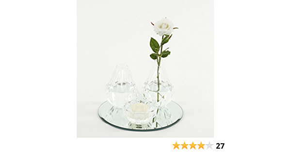 Koyal Wholesale Cocktail Table Bud Vase Assortment Centerpiece With Round Bevel Mirror High Table Modern Decorations For Wedding Graduation Baby Shower Clear Home Kitchen Amazon Com