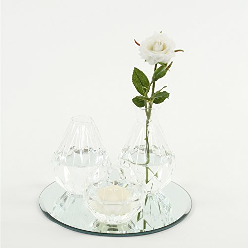 Koyal Wholesale Cocktail Table Bud Vase Assortment Centerpiece with Round Bevel Mirror, High Table Modern Decorations for Wedding, Graduation, Baby Shower -