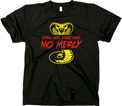 GunShowTees Men's Strike First Strike Hard No Mercy Cobra Kai Dojo Shirt (X-Large, ()