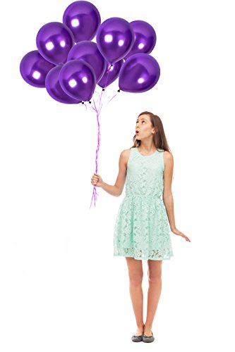 Dark Violet Purple Latex Balloons 12 Inch ft. 100pcs Thick Latex Metallic Balloons And 65 Yards Of Purple Crimped Curling Ribbon | Top Quality, Thick Latex | Purple Wedding Shower Decorations Curling Ribbon Party Decorations