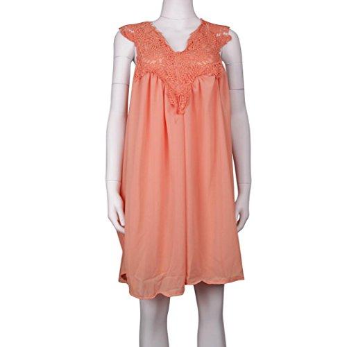 en Plage Orange pour Femme Manches Familizo Sans de Robe Mousseline D't Robe aqwFwpxt