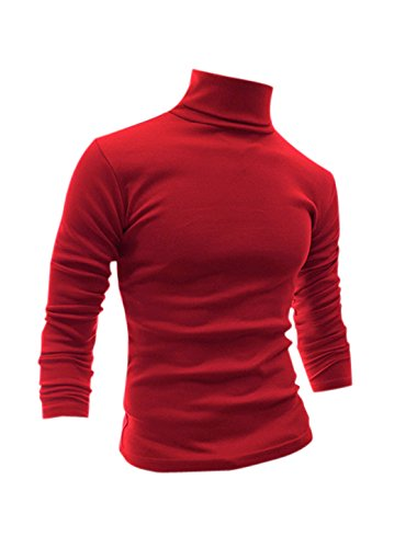 Allegra K Men Soft Slipover Turtle Neck Full Sleeves Stretchy Shirt Large Red (Red Turtleneck Shirt)