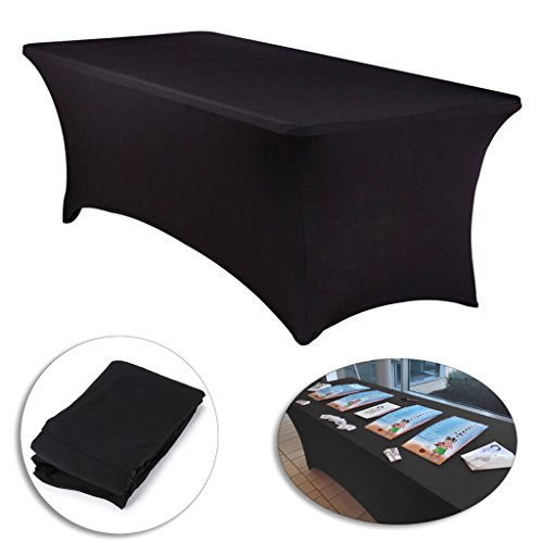 BTSKY 8 ft.Fitted Tablecloth -- Rectangular Spandex Table Cover for 8 Foot Tables Wedding, Banquet, Party, DJ, Tradeshows, Vendors Decoration, 96'' (L) x 30'' (W) x 30'' (H) (Black) by BTSKY