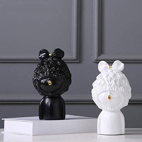 LINlq 彫刻[装飾]、樹脂工芸品の人形の装飾樹脂の装飾品ホームデコレーションデスクトップの宝石黒7.9inch、ホワイト、7.9inch (Color : White, Size : 7.9inch)
