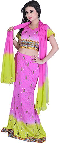 Exotic India Pink and Green Bridal Lehenga Choli with Beadwork and Sequins