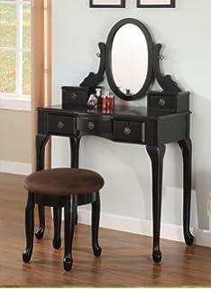 espresso vanity set with bench. Espresso Vanity Set 5 Drawers w  Stool Mirror by Amazon com Powell Warm Cherry and Bench Kitchen