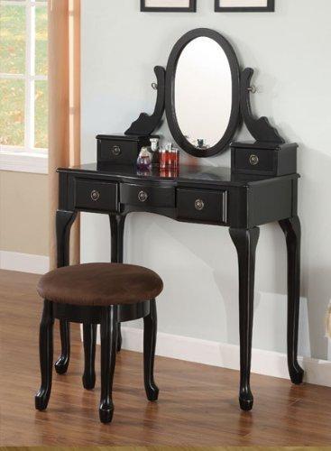 Espresso Vanity Set 5 Drawers w Stool Mirror