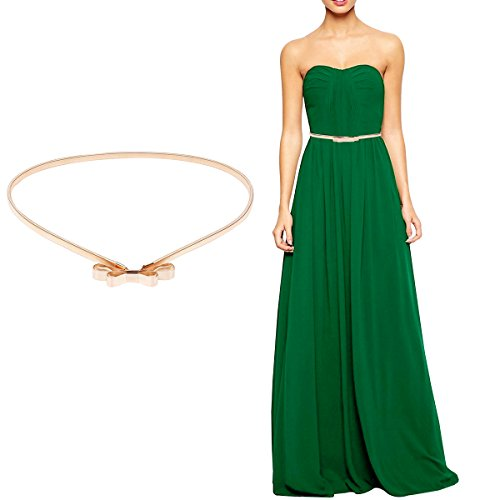 Women Gold Metal Elastic Belt For Dresses Silver Waist Chian Accessory with Buckle gold