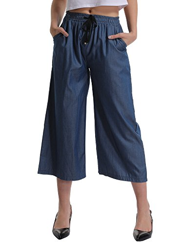 Cotton Twill 3/4 Pant - Gooket Women's Elastic Waist Wide Leg Cropped Capris Drawstring Jean Culottes Pants Indigo Ankle Length Tag XL-US 4