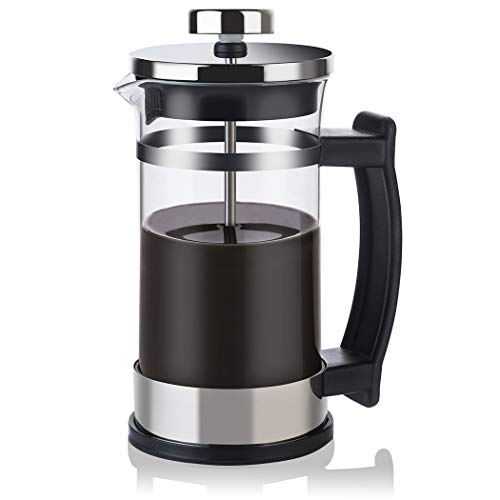 French Press Coffee Maker Glass Tea Beaker – Single Serve Cafetiere 350 ml 12 oz