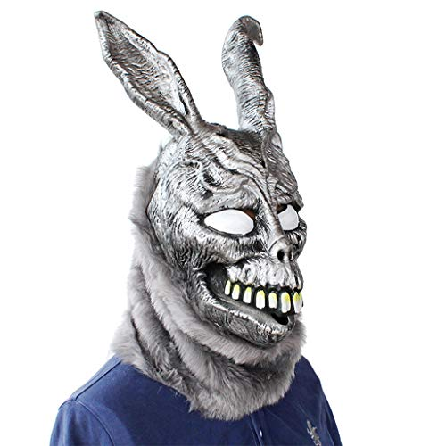 (Binory Creepy Rabbit Mask for Donnie Darko FRANK,Halloween the Bunny Latex Hood Overhead with Fur Scary Animal Rabbit Mask,Free size,Halloween Party Supplies Props Accessories for Kids Adults)