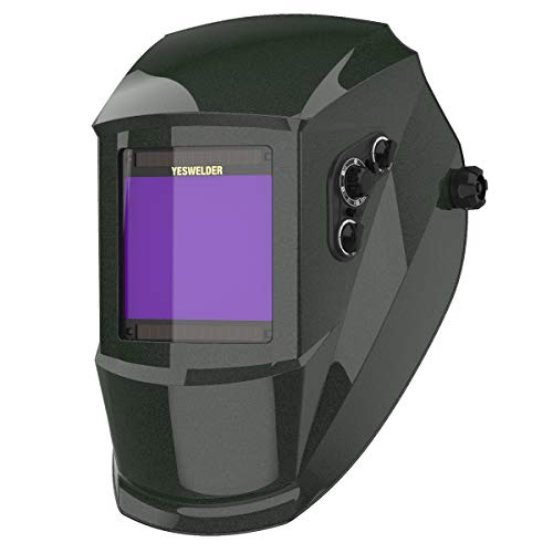 YESWELDER Large Viewing True Color Solar Powered Auto Darkening Silver Welding Helmet with SIDE VIEW, 4 Arc Sensor Wide Shade 4/5-9/9-13 Welder Mask for TIG MIG ARC Grinding Plasma Q800D-A