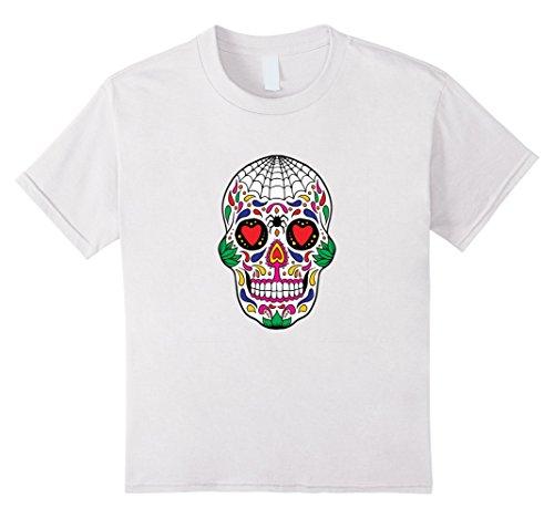 Kids Halloween skull, Calavera, Day of the Dead T-shirt 4 White -