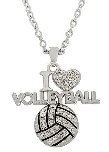 (VASSAGO Sports Clear Crystal I Love Volleyball/I Love Football/I Love Basketball Heart Shape Pendant Necklace Gift for Sportsman Women Girls (I Love Volleyball))