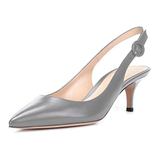 Women's Grey Ankle Slip uBeauty Pointy On Basic Shoes Court Stiletto Sandals Slingback Shoes Kitten Pumps Strap Heels Toe d6qwTz6