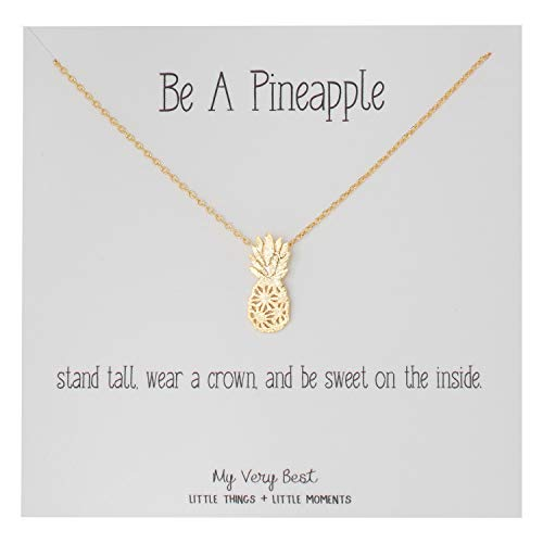 Modern Everyday Necklace - My Very Best Dainty Pineapple Necklace Be A Pineapple_Stand Tall. wear a Crown, and be Sweet on The Inside. (Gold Plated Brass)