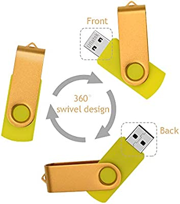 Pack de 5 Memoria Flash Drive 1 GB Giratoria Memorias USB 2.0 Color Mezclados 1GB Pendrive Plegable Diseño U Disco Uflatek Flash Drive con Llavero