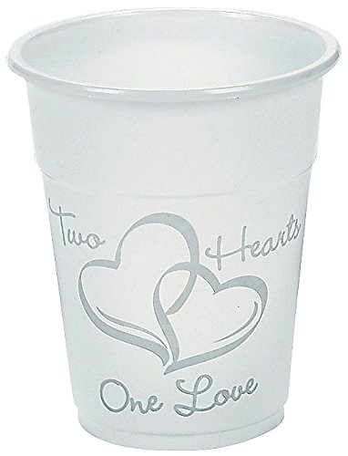 Plastic Disposable Two Hearts Wedding Cups 16oz (100 Cups)
