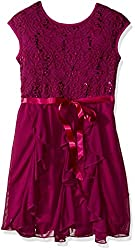 Girls Sequin Lace Chiffon Corkscrew Dress