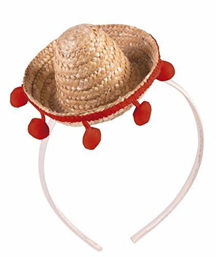 [Cinco de Mayo Mini Straw Sombrero on Satin Headband] (Cinco De Mayo Dress)