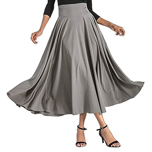 Skirt Back Zip A-line (preliked Stylish Skirt with Zip-Back Sashes High Waist for Women Pleated A-Line Maxi Skirt Solid Color - Dark Gray S)
