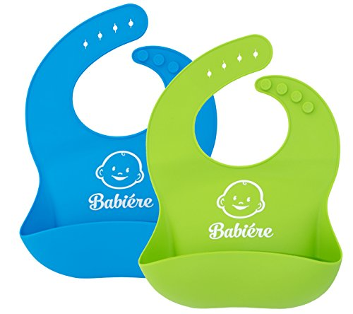 Soft Silicone Bib with Snaps and Food Catcher Pocket, Waterproof Baby Bibs fit Infants and Toddlers, Blue and Green, 2 Pack