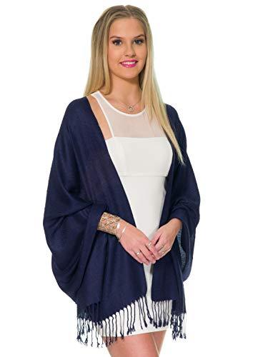 Pashmina Shawls and Wraps for Evening Dresses, Large Soft Pashmina Wedding Navy Deep Blue Shawl