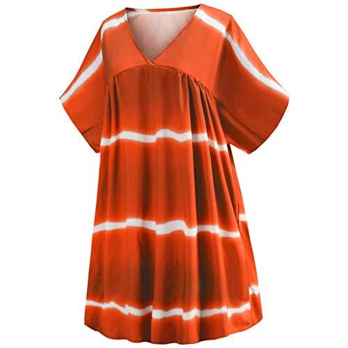 IAMCOOL 2019 Maxi Dresses for Women, Women's Plus Size V-Neck Casual Loose Pullover Tie Dye Print Mini Dresses Orange -