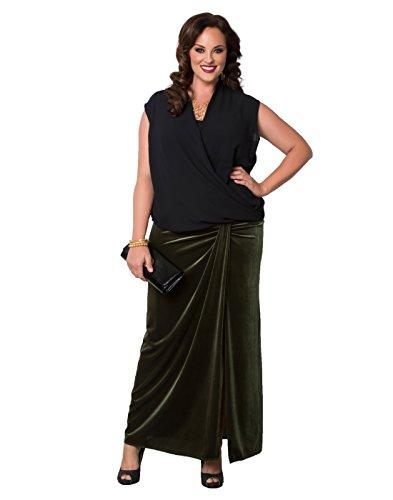 Kiyonna Women's Plus Size Velvet Opulence Maxi Skirt 2X Opulent Olive