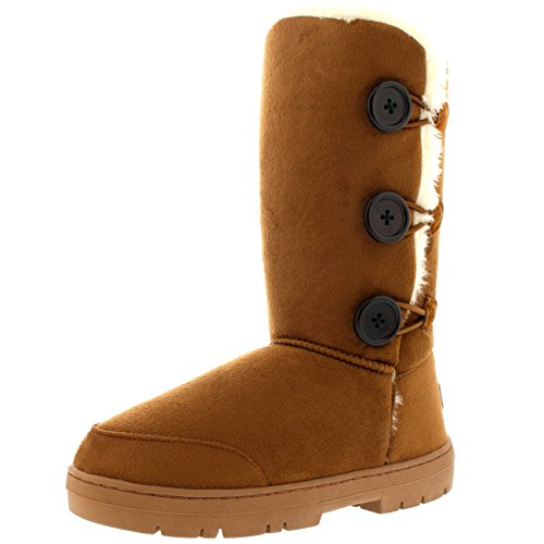 Womens Triplet Button Fully Fur Lined Waterproof Winter Snowboots Bruin