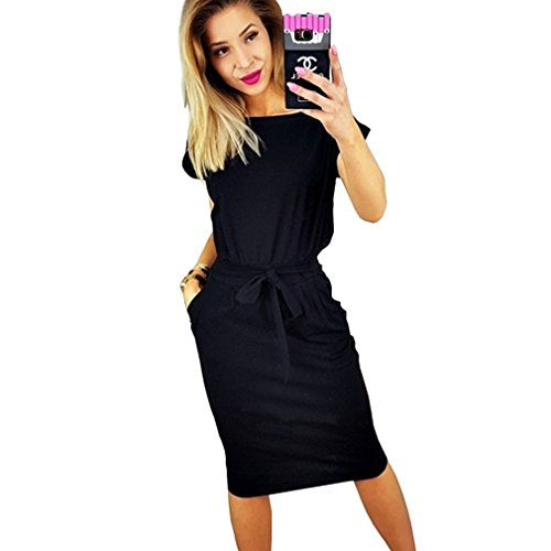 Poperdision Women's Elegant Pencil Dress Short Sleeve Wear to Work Casual Office Dress with Belt Black XL