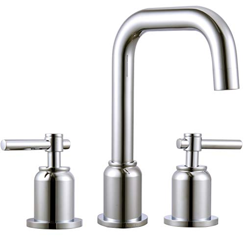 MR. FAUCET Bathroom Sink Faucets 3 hole Lavatory Basin Deck Mount Two-Handle Chorme 3 Hole Basin Two Handle