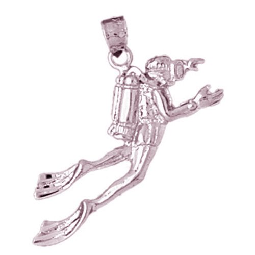 14k Rose Gold Scuba Diver Pendant (25 x 31 mm) by Noble Collections