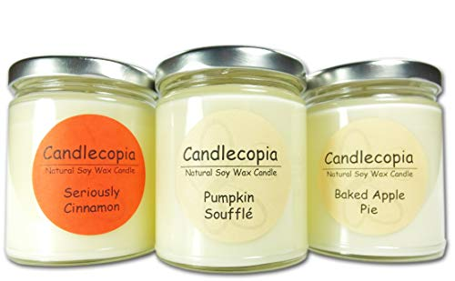 Candlecopia Pumpkin Soufflé, Baked Apple Pie and Seriously Cinnamon Strongly Scented Hand Poured Vegan Soy Candles, Dye Free, 3-Pack