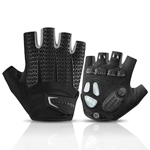 ROCK BROS Road Cycling Gloves for Men Women Commuter Gloves Half Finger Biking Gloves with Gel Padded Shock Absorbing, Breathable Anti Slip Road Bike Gloves for Summer Bicycling Riding Gray-XL (Best Autumn Cycling Gloves)