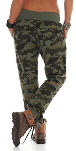 ZARMEXX Damas pantalones casuales pantalones de deporte camuflaje pantalones holgados del novio del harem de los pantalones de los deportes armee
