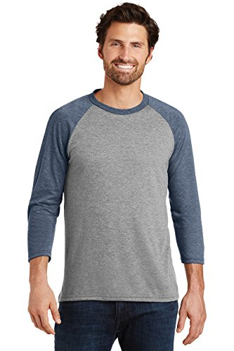 District Made Mens Perfect Tri 3/4-Sleeve Raglan, Navy Frost/Grey Frost, X-Small