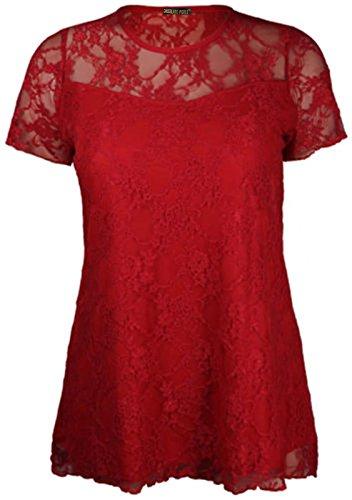 red Plus Pickle Nouveaux Taille Tunique 42 florale Chocolate 56 Contraste Femmes manches Dentelle Hauts courtes HBqwpg6